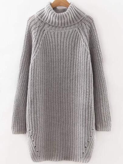 Grey Roll Neck Raglan Sleeve Split Side Long Sweater
