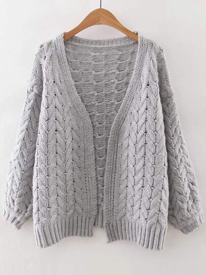 Grey Cable Knit Loose Fit Sweater Coat
