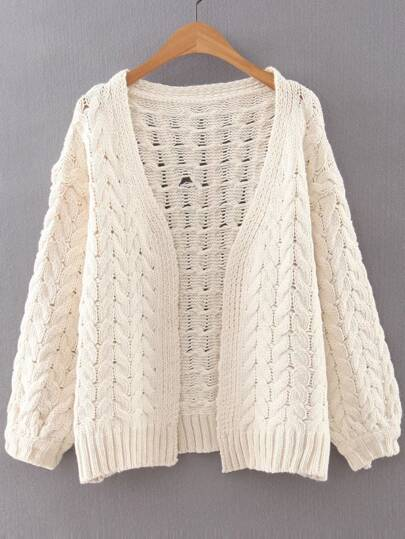 White Cable Knit Loose Fit Sweater Coat