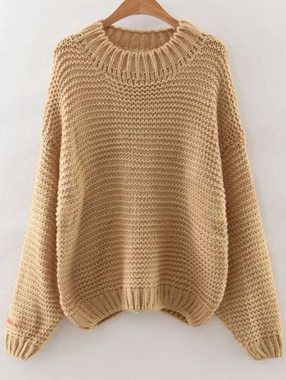Khaki Drop Shoulder Textured Sweater