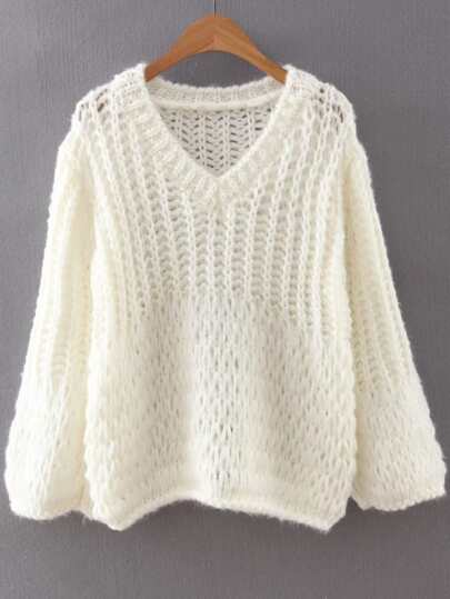 White V Neck Loose Knit Sweater