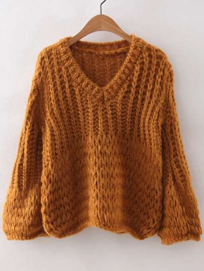 V Neckline Chunky Knit Sweater