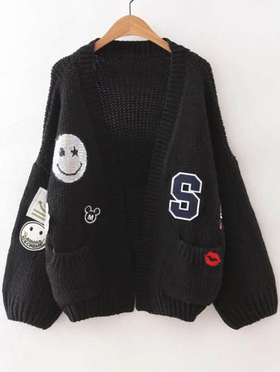 Black Drop Shoulder Patch Sweater Coat With Pockets