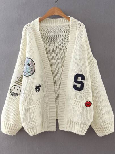 White Drop Shoulder Patch Sweater Coat With Pockets