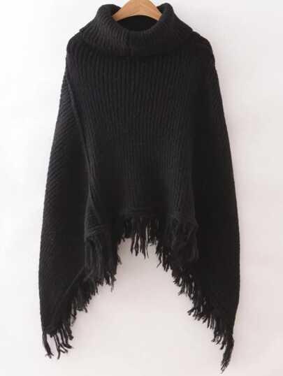 Black Turtleneck Fringe Poncho Sweater