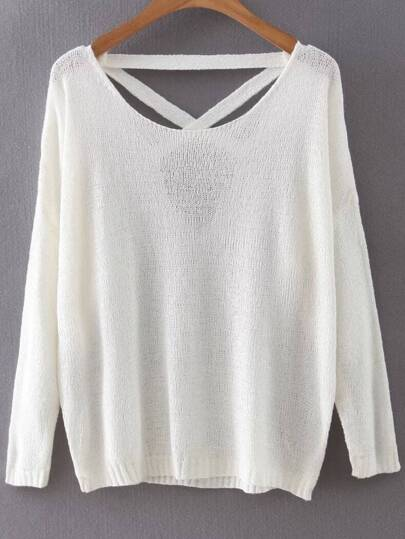 White Criss Cross Back Drop Shoulder Knitwear