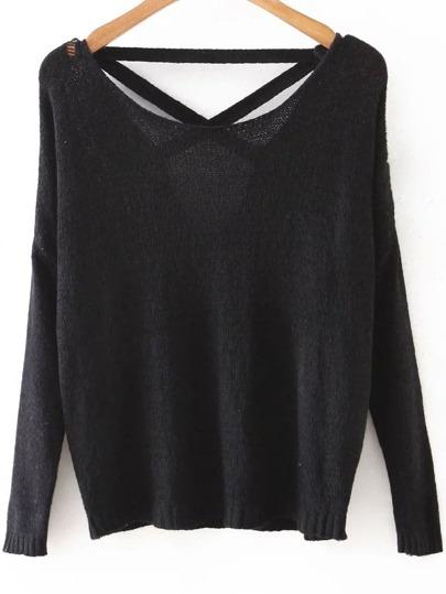 Black Criss Cross Back Drop Shoulder Knitwear