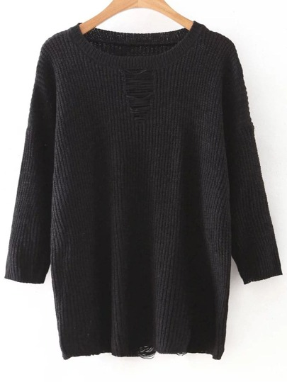 Black Drop Shoulder Ripped Knitwear