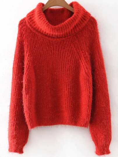 Red Turtleneck Raglan Sleeve Fluffy sweater