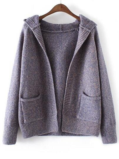 Blue Marled Knit Hooded Sweater Coat With Pockets