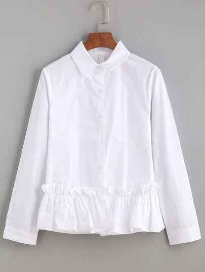 White Ruffle Trim Long Sleeve Shirt