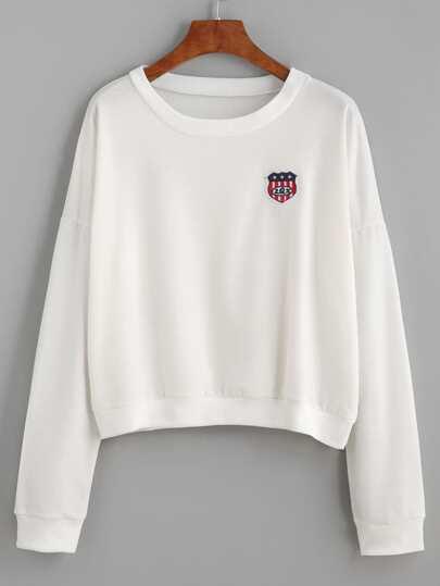 White Drop Shoulder Patch Sweatshirt
