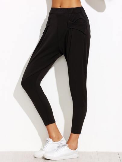Black Elastic Waist Tapered Leg Pants With Pockets
