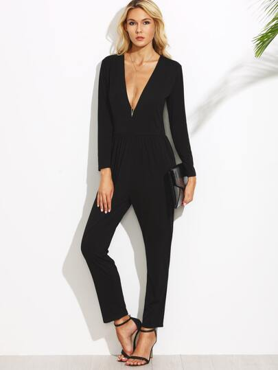 Black Deep V Neck Long Sleeve Jumpsuit