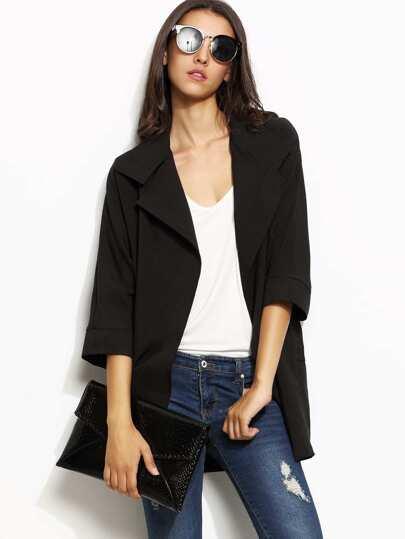 Manteau col à revers manche 3/4 - noir