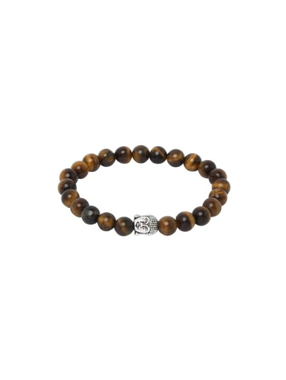 Brown Buddha Etched Stretch Beaded Bracelet