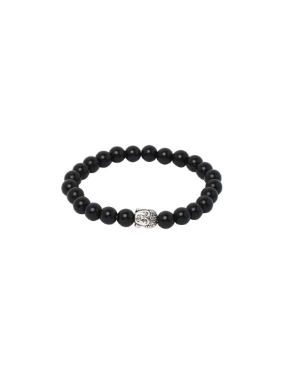 Black Buddha Etched Stretch Beaded Bracelet