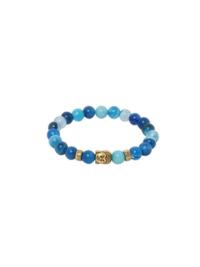 Blue Buddha Etched Stretch Beaded Bracelet