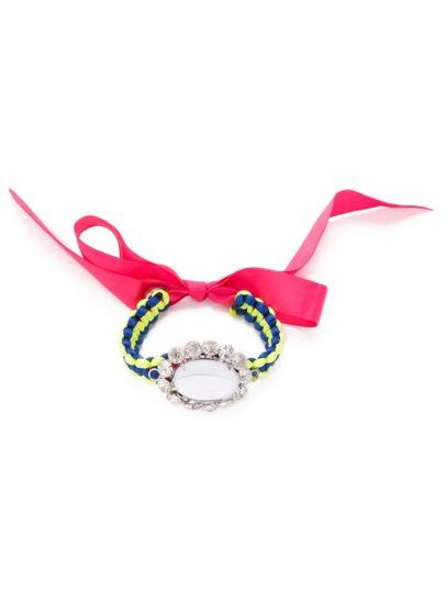 Bow Tie Rhinestone Braided Bracelet