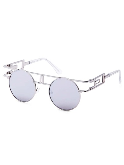 White Metal Frame Cutout Mirrored Round Sunglasses