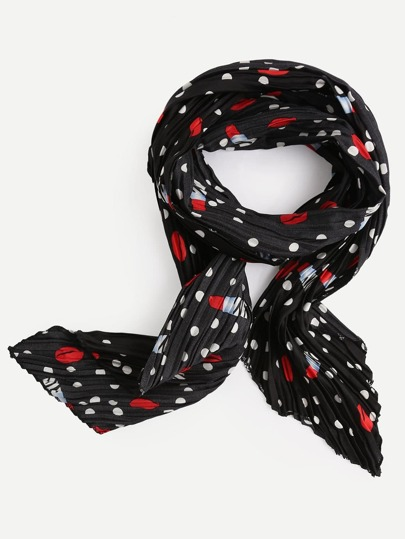 Polka Dot And Lipsticks Print Pleated Scarf