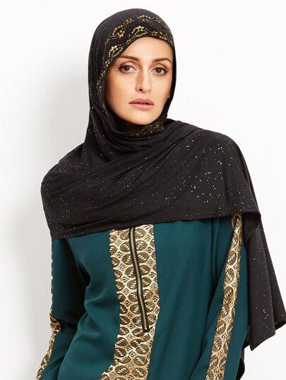 Чёрный стильный шарф с принтом в арабском стиле