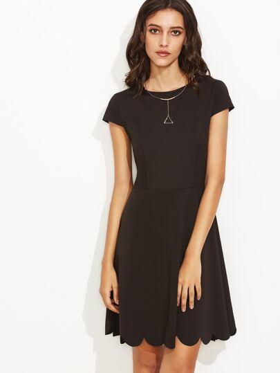 Black Scallop Hem A Line Dress