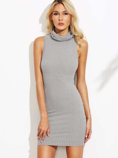Grey Cowl Neck Ribbed Knit Sleeveless Bodycon Dress