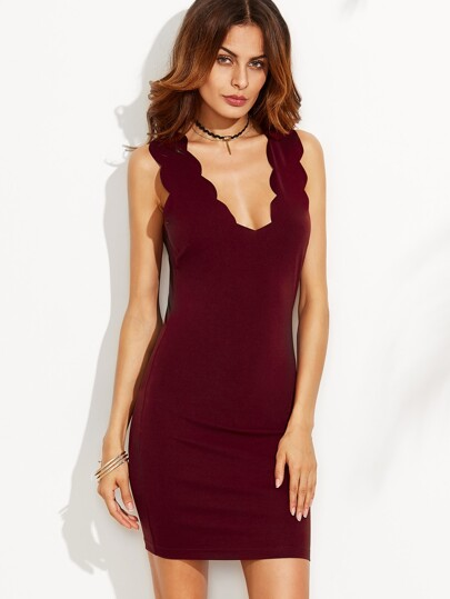 Burgundy Scallop V Neck Sleeveless Sheath Dress