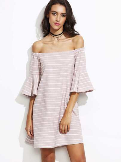 Pink Striped Off The Shoulder Bell Sleeve Cutout Back Dress