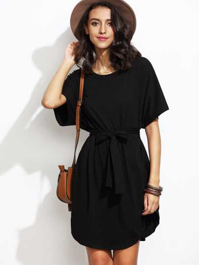 Dolman Sleeve Self Tie Curved Hem Dress