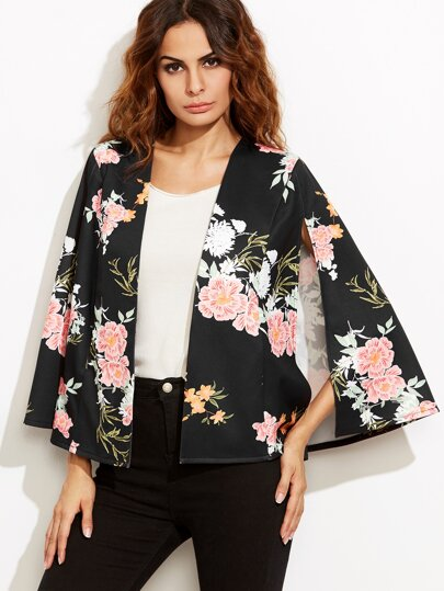 Black Flower Print Open Front Cape Blazer