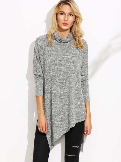 Grey Marled Knit Cowl Neck Drop Shoulder Slit Asymmetric T-shirt