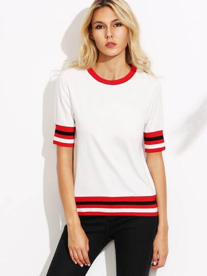 White Striped Trim T-shirt