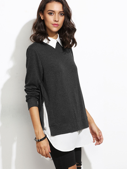 Black Contrast Collar Curved Hem 2 In 1 Sweatshirt