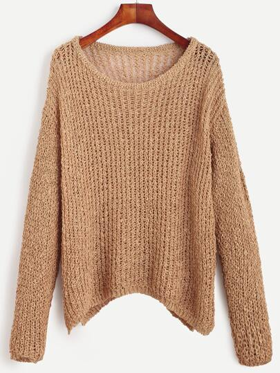 Khaki Drop Shoulder Chunky Knit Sweater