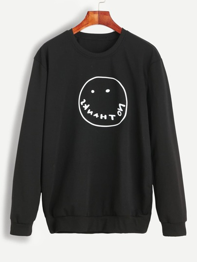 Black Smile Print Sweatshirt