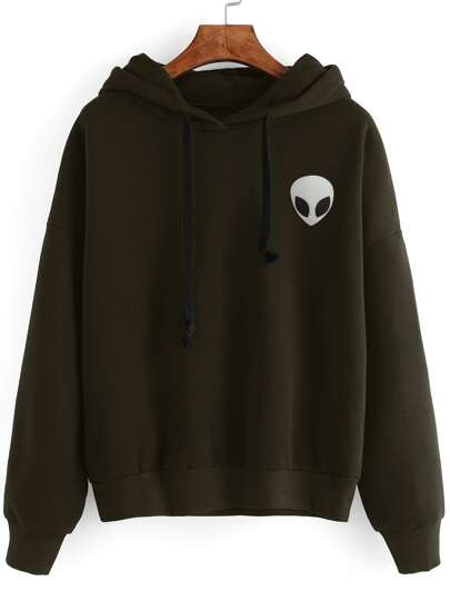 Army Green Alien Print Drop Shoulder Hooded Sweatshirt