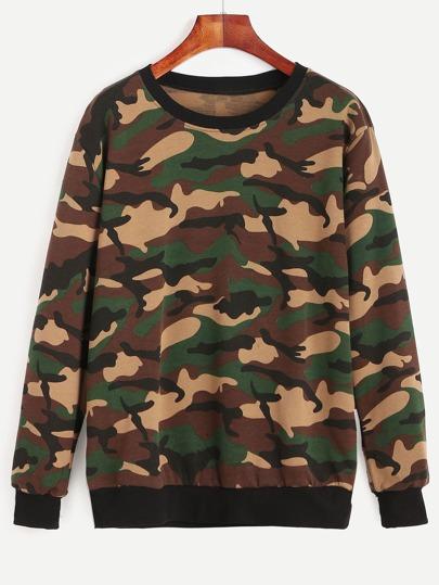 Army Green Camo Print Contrast Trim Sweatshirt