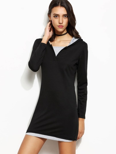 Contrast Fitted Hooded Sweatshirt Dress