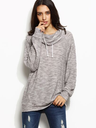 Grey Cowl Neck Drawstring Pocket Sweatshirt
