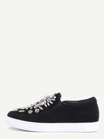 Flache Schuhe Veloursleder mit Kristall besetzt - schwarz