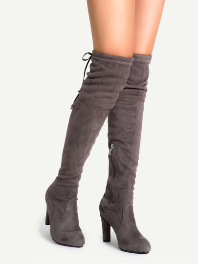 Coffee Suede Lace Up Side Zipper Over The Knee Boots
