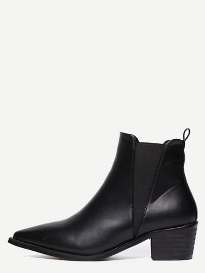 Black Faux Leather Pointed Toe Elastic Chunky Boots