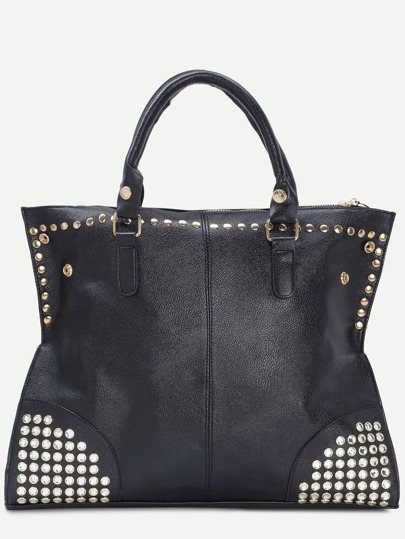 Black Zip Embellished Studded Tote Bag