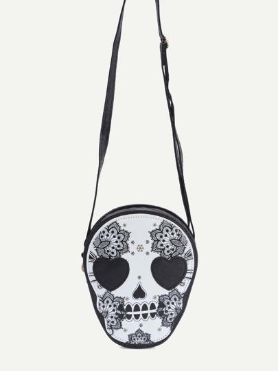 Black Skull Shaped Floral Print Crossbody Bag