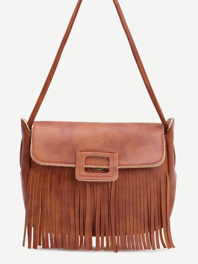 Brown Faux Leather Tassel Shoulder Bag