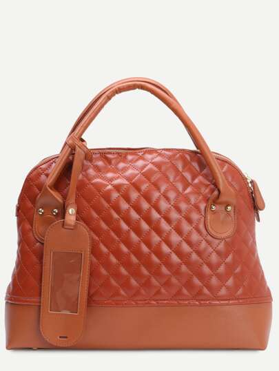 Brown Faux Leather Quilted Tote Bag