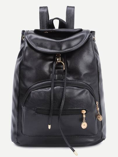 Black Faux Leather Draw String Backpack