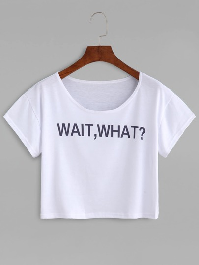 White Letter Print Crop T-shirt